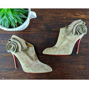 👠 LOUBOUTIN MRS BABA Velours Suede Booties